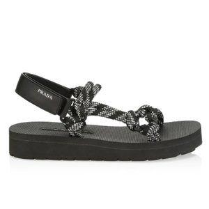 Prada Canvas Rope Strap Logo Sport Sandals (Black)